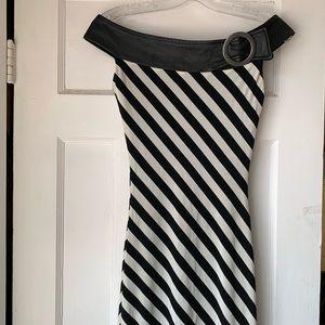 Dresses & Skirts - Leather trim striped dress